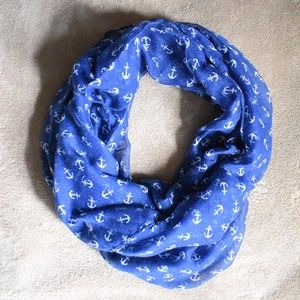 Blue and White Anchor Circle Scarf